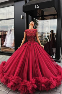 Red Graceful Appliques Ball Gown