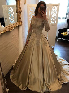 Ball Gown Scalloped Champagne Satin Prom Dresses with Lace Long Sleeves