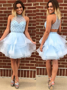 Cute Blue A Line High Neck Tulle Short Homecoming Dress with Beading