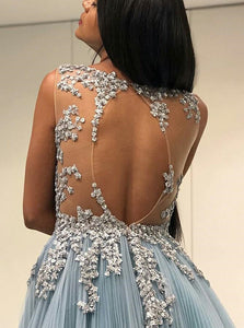Sexy Scoop Sky Blue Open Back Floor Length Prom Dress with Appliques