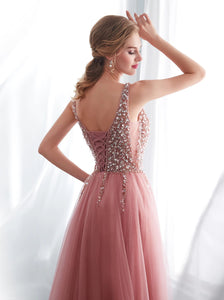 Elegant Deep V Neck Lace Up Evening Dress