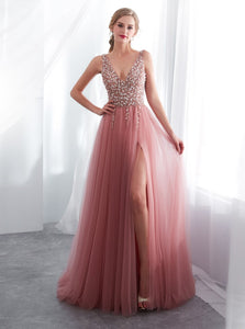 Graceful Tulle Beaded Prom Dress with Side Slit