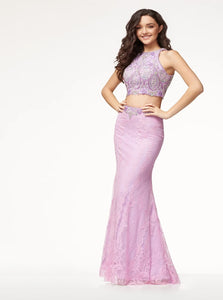 Mermaid Scoop Open Back Lace Prom Dresses With Beadings
