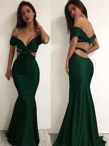 Green Mermaid Off the Shoulder Backless Satin Prom Dresses with Pleats