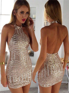 Sheath Halter Spandex Silver Backless Short Homecoming Dress with Beadings