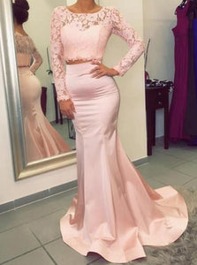 Pink Two Piece Long Lace Sleeve Mermaid Satin Bridesmaid Dresses