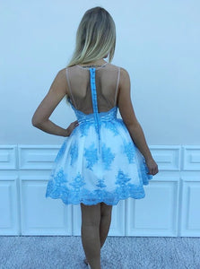 Blue Jewel Mini Tulle Homecoming Dress with Appliques