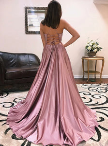 V Neck High Leg Split Sweep Train Lace Up Satin Prom Dresses with Slit