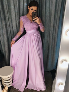 A Line V Neck Purple Satin Sweep Train Prom Dress with Appliques
