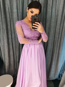 A Line V Neck Purple Satin Long Sleeves Prom Dress with Appliques