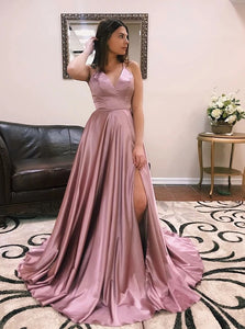 Coral V Neck High Leg Split Sweep Train Lace Up Prom Dresses