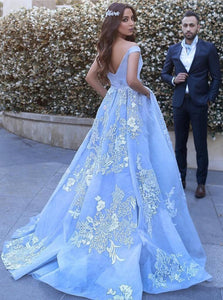 Gorgeous Blue Tulle Appliques Ball Gown Off-the-Shoulder Long Evening Dress