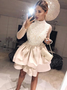 Champagne High Neck Long Sleeves Homecoming Dress with Appliques