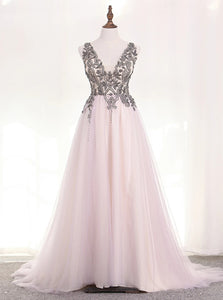 A Line Straps Tulle Grey Prom Dresses with Beadings and Slit