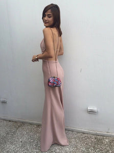 Graceful Sheath Spaghetti Straps Backless Blush Floor Length Prom Dress