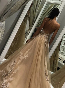A Line Champagne Tulle Backless Prom Dresses with Beadings and Appliques