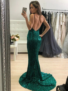 Mermaid Spaghetti Straps Sweep Train Sleeveless Sequined Prom Dress