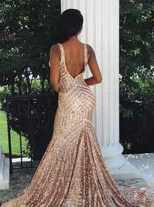 Rose Gold Mermaid Sleeveless Backless Sequined Backless Prom Dresses