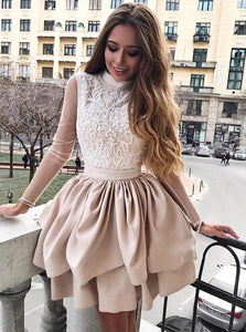 Champagne High Neck Long Sleeves Mini Homecoming Dress with Appliques
