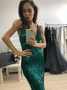 Green Mermaid Spaghetti Straps Sweep Train Sequined Prom Dress