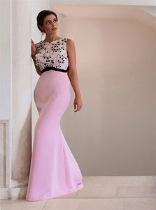 Mermaid Scoop Open Back Satin Prom Dresses With Appliques Sweep Train