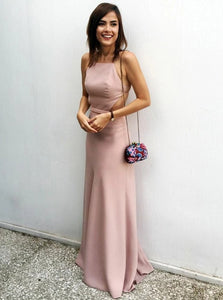 Sexy Sheath Spaghetti Straps Backless Blush Floor Length Prom Dress