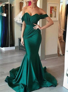 Mermaid Off the Shoulder Pleated Sleeveless Prom Dresses