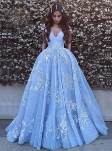 Blue Tulle Appliques Ball Gown Off-the-Shoulder Sweep Train Prom Dress