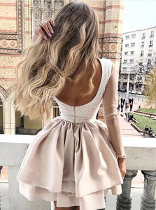 Champagne High Neck Long Sleeves Satin Homecoming Dress with Appliques