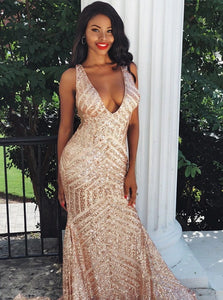 Rose Gold Mermaid Sleeveless Backless Sequined Sweep Train Prom Dresses
