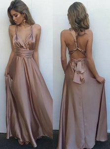 A Line V Neck Blush Satin Lace Up Sleeveless Prom Dress with Pleats