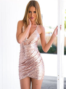 Sexy Sheath Spaghetti Straps Short Pink Sequined Homecoming Dresses