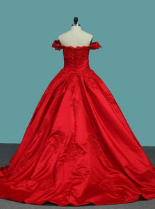 Elegant Red Off The Shoulder Ball Gown Applique Satin Prom Dresses