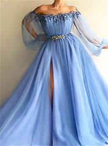 A Line Long Sleeves Off the Shoulder Tulle Beadings Prom Dresses