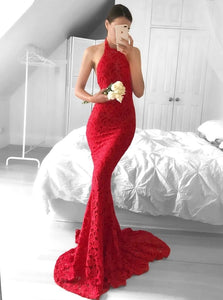 Sexy Red Lace Mermaid Halter Backless Prom Dresses with Sweep Train