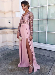 A Line V Neck Pink Satin Long Sleeveles Prom Dresses with Sequins and Split