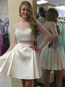 White Bateau Long Sleeves Mini Satin Lace Prom Dress with Beadings