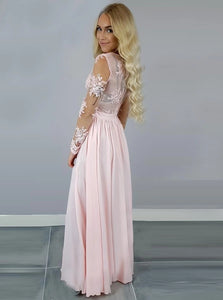 A Line V Neck Pink Chiffon Floor Length Prom Dresses with Appliques