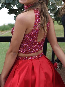 Two Piece High Neck Short Red Open Back Prom Dress Beading with Pockets