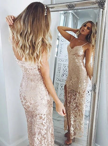 Pink Sheath Spaghetti Straps Lace Prom Dresses with Sequins  and Side Slit