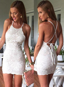 Sheath Halter Criss Cross Straps Ivory Lace Mini Homecoming Dresses