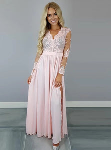 A Line V Neck Pink Chiffon Long Sleeves Prom Dresses with Appliques