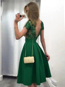 A Line Cap Sleeves Knee Legnth Green Satin Appliques Prom Dresses