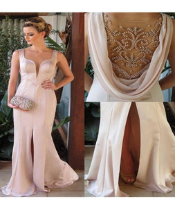 Mermaid Scoop Chiffon With Beadings And Slit Prom Dresses