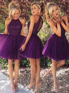 A Line Jewel Open Back Short Purple Prom Dress with Beading Ruffles