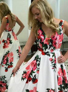 A Line V Neck Sweep Train White Floral Satin Prom Dress