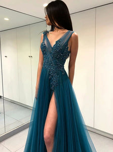 A Line V Neck Turquoise Tulle Sweep Train Prom Dress with Appliques and Beadings