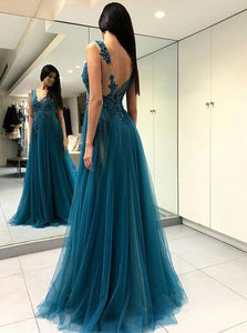 A Line V Neck Turquoise Tulle Open Back Prom Dresses with Appliques and Beadings
