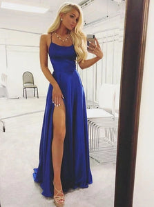 A Line Spaghetti Straps Royal Blue Satin Prom Dresses with Split
