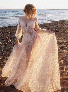 A Line V Neck Long Sleeves Lace Prom Dresses With Appliques